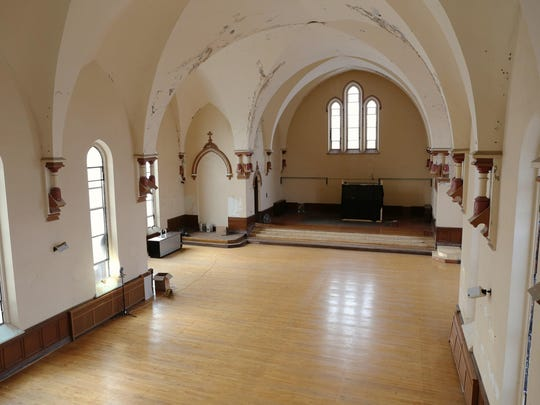 "The sanctuary at the north end of the former St. Patrick's Catholic Church in Northside is the space where New Edgecliff Theatre will eventually stage its shows. For its first production, ""Frankie and Johnny in the Clair de Lune,"" the stage will be placed at the opposite end of the space."