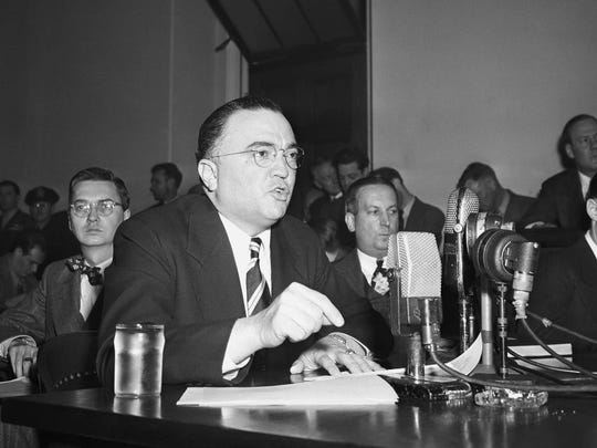Federal Bureau of Investigation Director J. Edgar Hoover gives testimony before the House Un-American Activities Committee March 26, 1947, in Washington. (AP Photo)