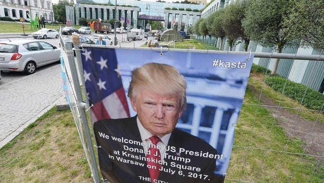 A poster ad for President Trump's visit to Warsaw on July 6 is seen in Poland's capital on July 2.