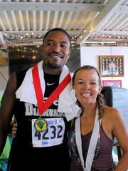 Capt'n Fun Runners recently presented a run on Caye Caulker, an island off the coast of Belize, to benefit its only secondary school, the Ocean Academy. Overall winners were Overall Finishers, Danny, left, Ocean Academy's basketball coach, and Brittany, an ex-pat and part-time Caye Caulker resident.