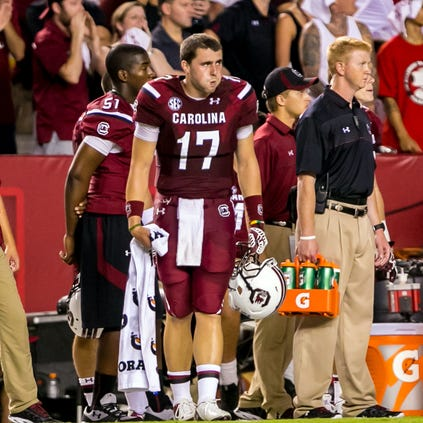 Gamecocks quarterback Dylan Thompson (17) reacts against the Texas A&M Aggies in the fourth quarter at Williams-Brice Stadium.