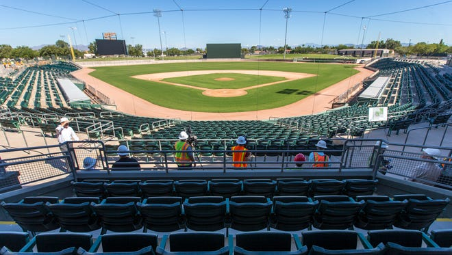 The Oakland Athletics' newly renovated Hohokam Stadium. The sites will be complete in time for the 2015 season.