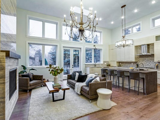 Incredible light and airy living room with high ceiling in a new construction home.