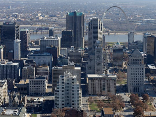 St. Louis is seen in a 2014 photo. Its population is expected to fall below 1870 levels in 2020.