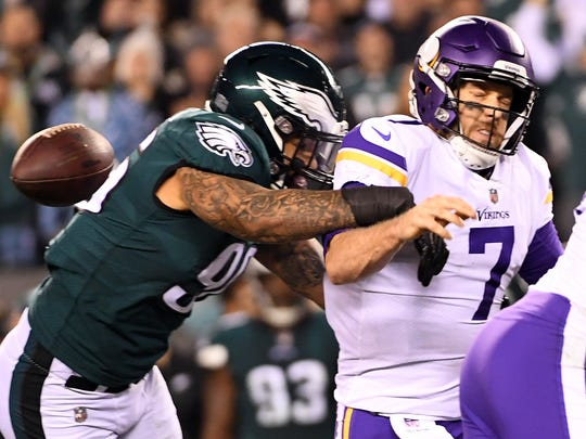 Philadelphia Eagles defensive end Derek Barnett (96) causes Minnesota Vikings quarterback Case Keenum (7) to fumble during the second quarter in the NFC Championship game at Lincoln Financial Field on Jan. 21, 2018.