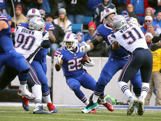 Bills running back LeSean McCoy  tries to find a hole