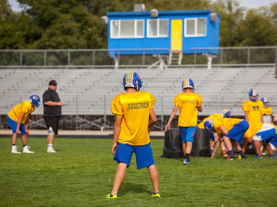The Parowan football team practices on Tuesday, September 27, 2017.