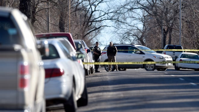 Great Falls Police conduct their investigation into a shooting on the 900 block of 2nd Ave. S., Friday morning.  Police reported that one male victim was transported to Benefis and a male suspect was taken into custody.