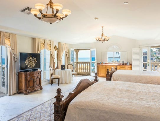 Club members are permitted to rent rooms at Mar-a-Lago for their overnight guests. This is one of the available bedrooms. A private section of the mansion is set aside for the president and family members.