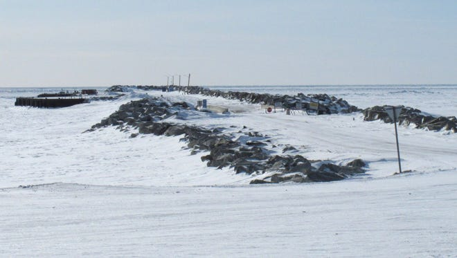 In this March 15, 2012 photo shown is the frozen Port of Nome, Alaska.