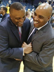 Then-Drexel coach Bruiser Flint (left) and good friend
