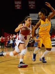 Lexi Alexander guard USD's Tia Hemiller last year at the DakotaDome