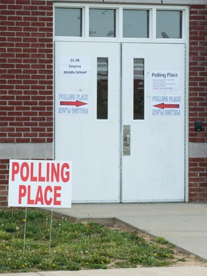 A polling location is set up at Smyrna Middle School on April 26, 2016.