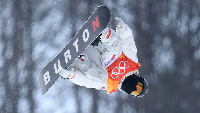 Shaun White (USA) competes in the men's halfpipe.