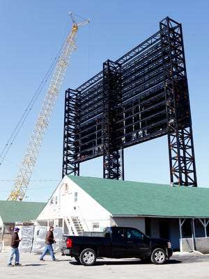 "The construction of the ""World's Largest"" outdoor video board that measures 90-feet by 171-feet is underway at Churchill Downs Racetrack, as seen from the backside of the track. Other additions to the racetrack include the construction and renovation of the new Grandstand Terrace and Rooftop Garden section at Churchill Downs. The projects total more than $26.5 million. March 26, 2014"
