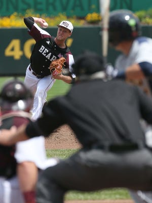 MSU's Jon Harris pitches against Cansius.