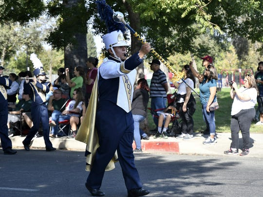 Redwood High School performs at the 38th annual Visalia Band Review in downtown Visalia on Saturday, October 20, 2018.
