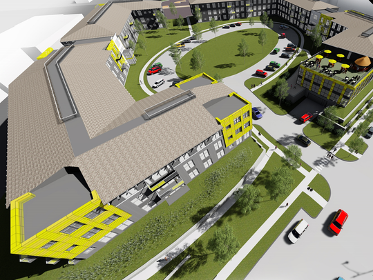 an artist rendering of the Market at Six Points Apartments