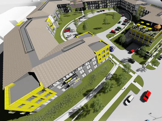 an artist rendering of the Market at Six Points Apartments giving an aerial view