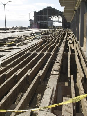 Broken section of the Asbury Park boardwalk after Superstorm Sandy.