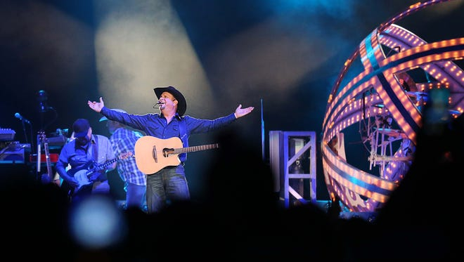 Garth Brooks in concert at Wells Fargo Arena on Friday, April 29, 2016. Brooks is performing in six shows over five days while in Des Moines this week.