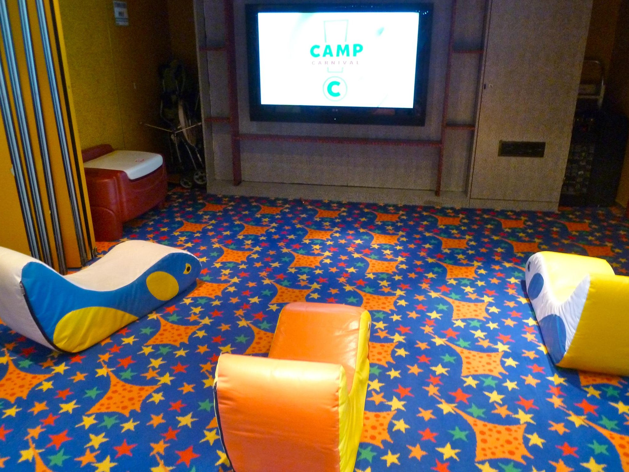 "In addition to the many distractions and games at Camp Carnival, there is a small ""cinema"" that screens children's features."