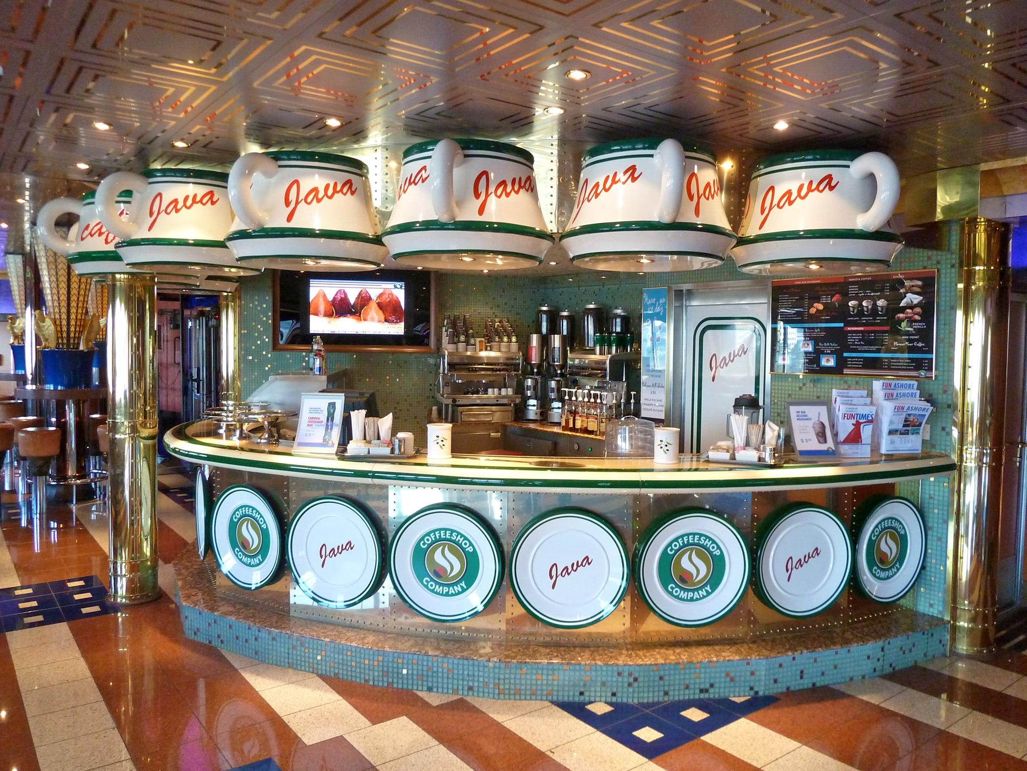 There's no mistaking the function of the Java Cafe, Carnival Valor's specialty coffee bar.