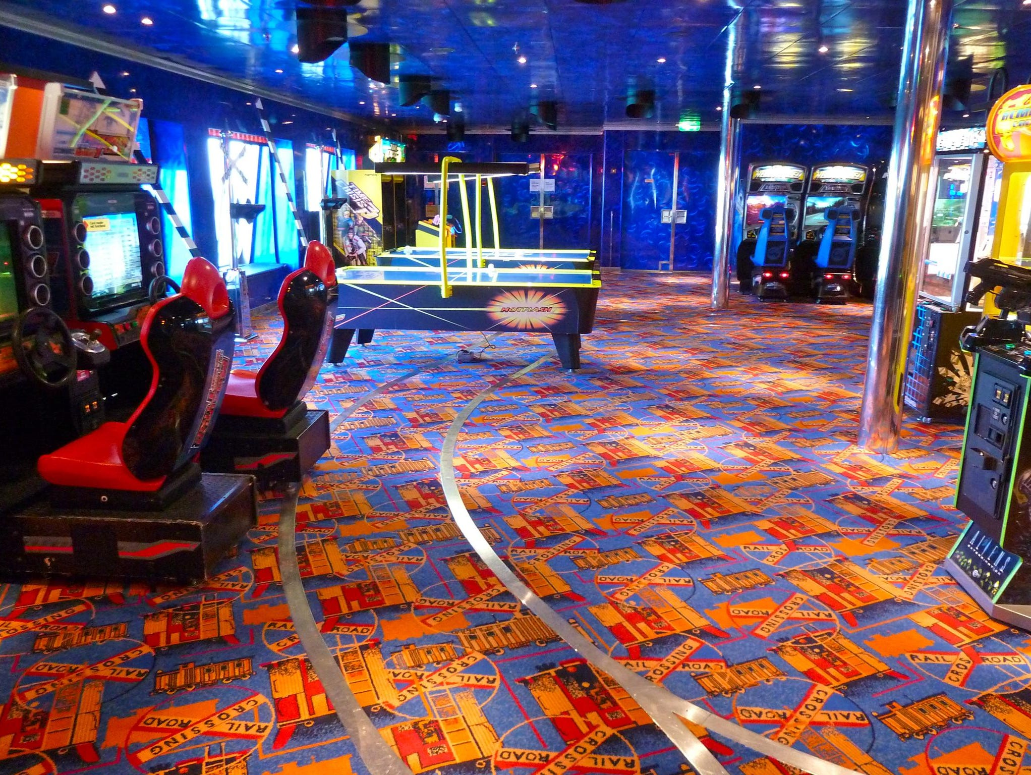 An extensive video arcade adjoins Club O2, continuing its railroad decorative theme.