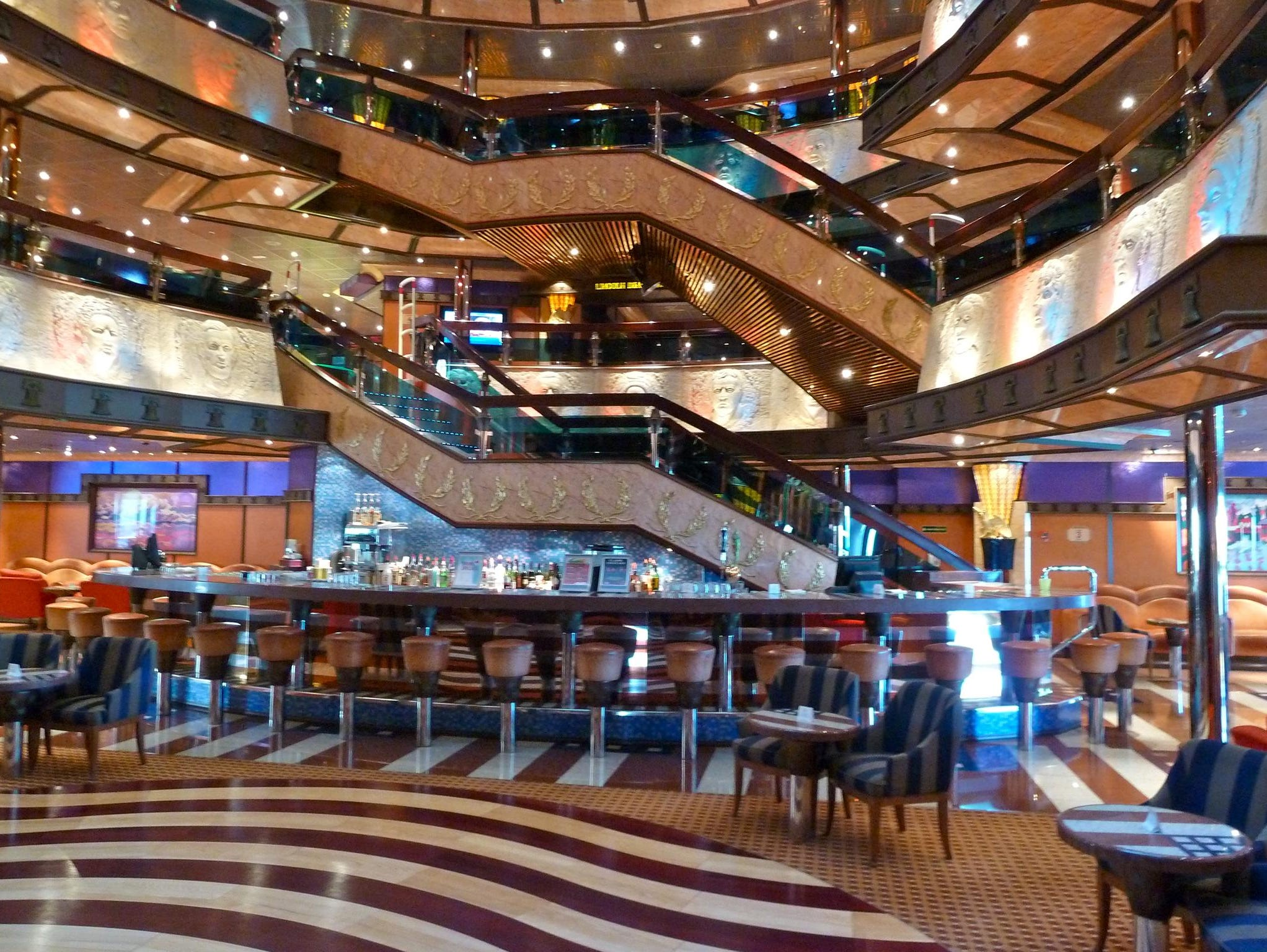 Most people enter the Carnival Valor on the Deck 3 level of the Atrium America near the aptly named American Bar.