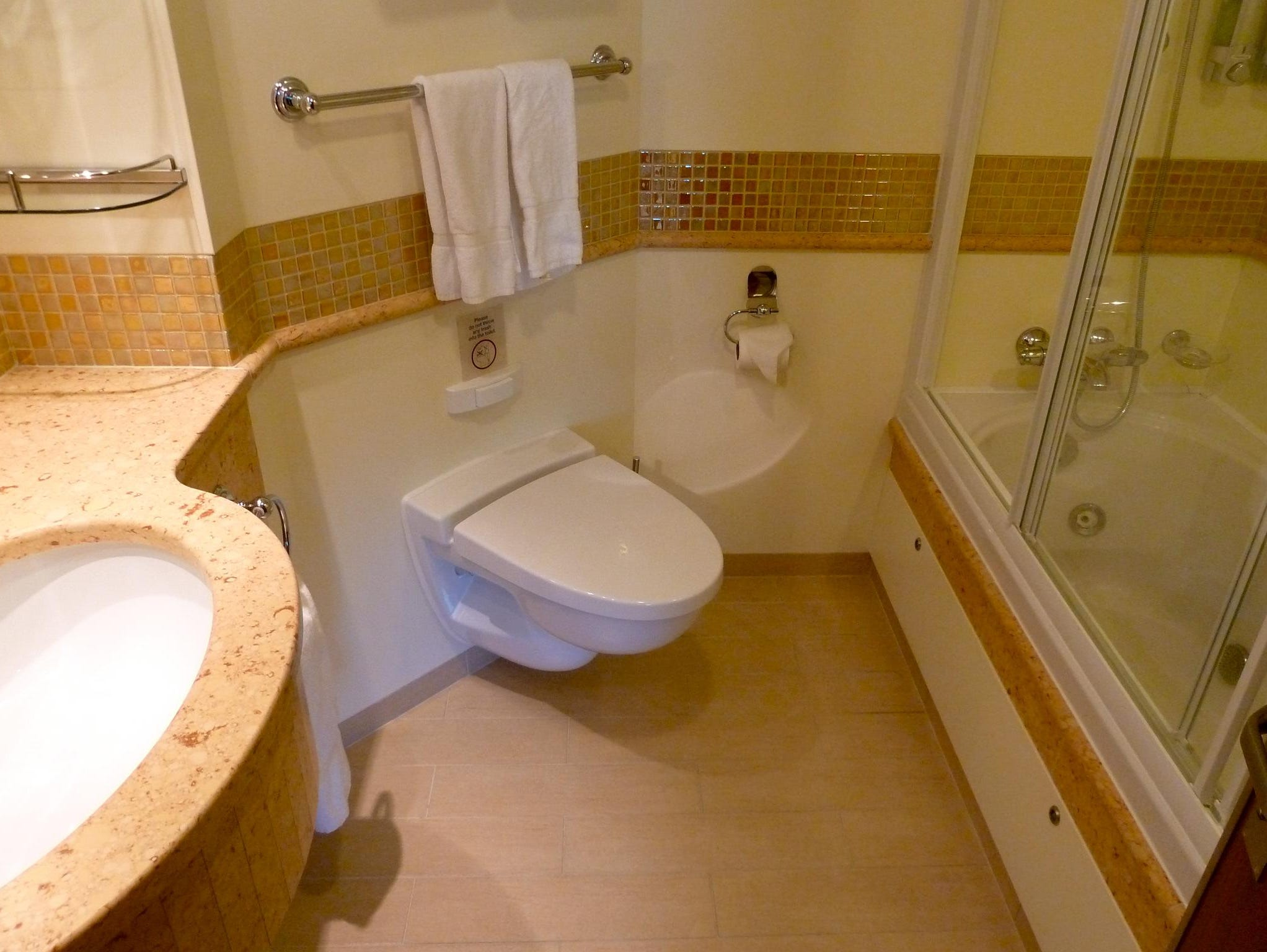 Bathrooms in Captain's Suites have decorative mosaic inlays, marble-topped counters and Jacuzzi tubs.