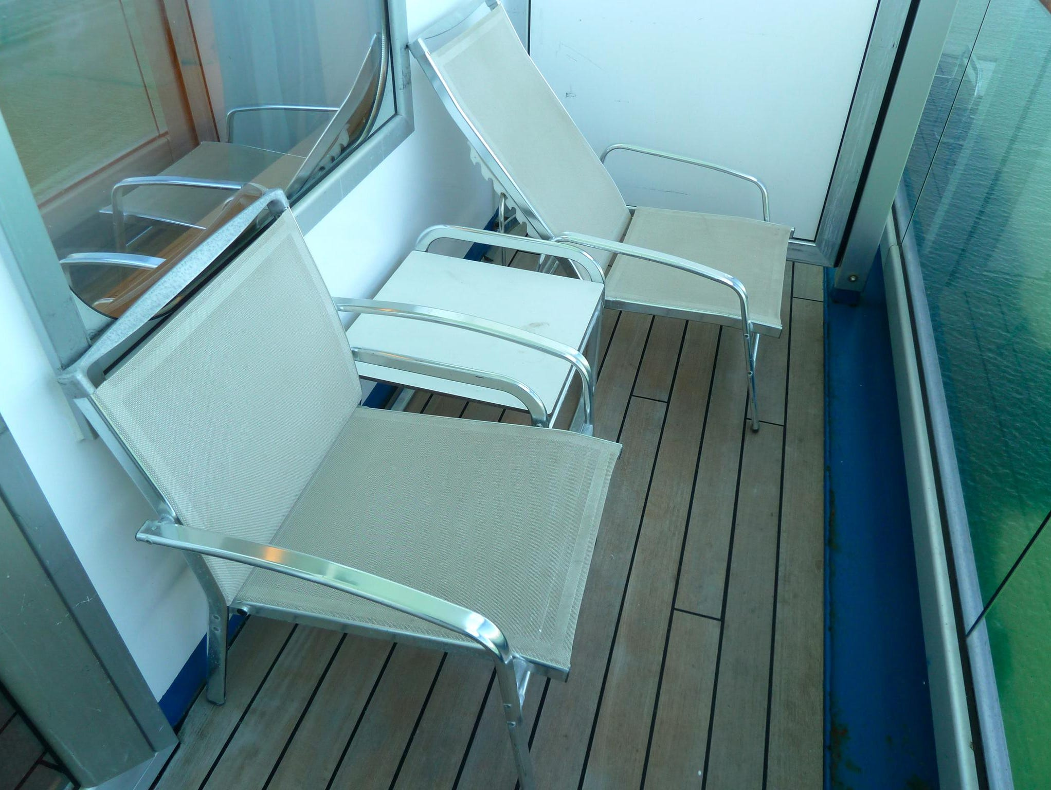 This is a balcony in an Ocean View With Balcony stateroom.