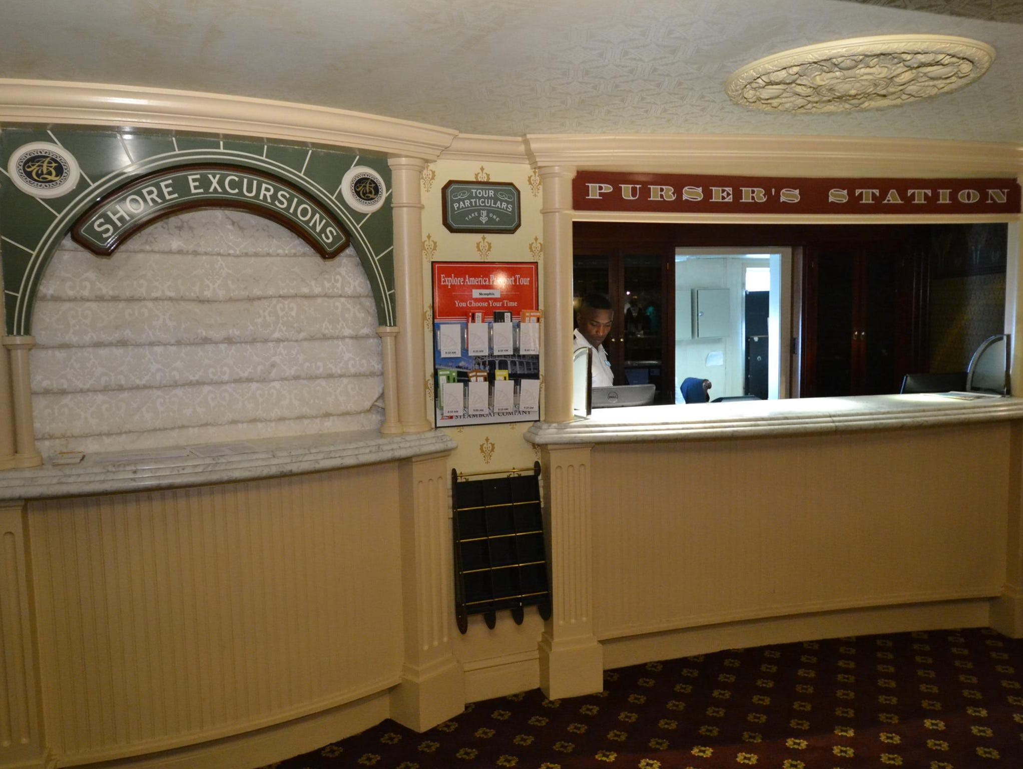 The Purser's Lobby is home to a Purser's Station and a shore excursion desk.