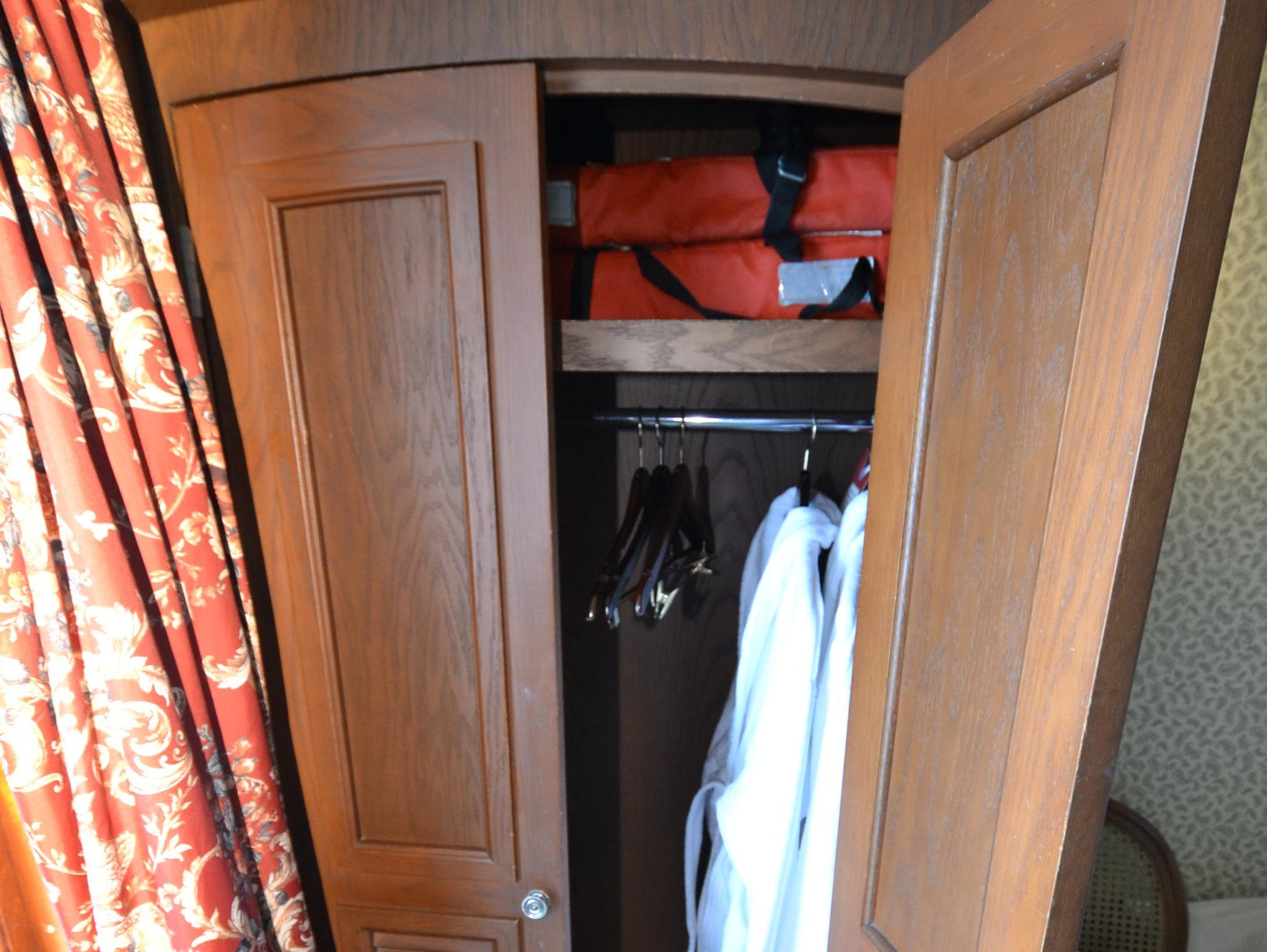 The interior of the California room's armoire.