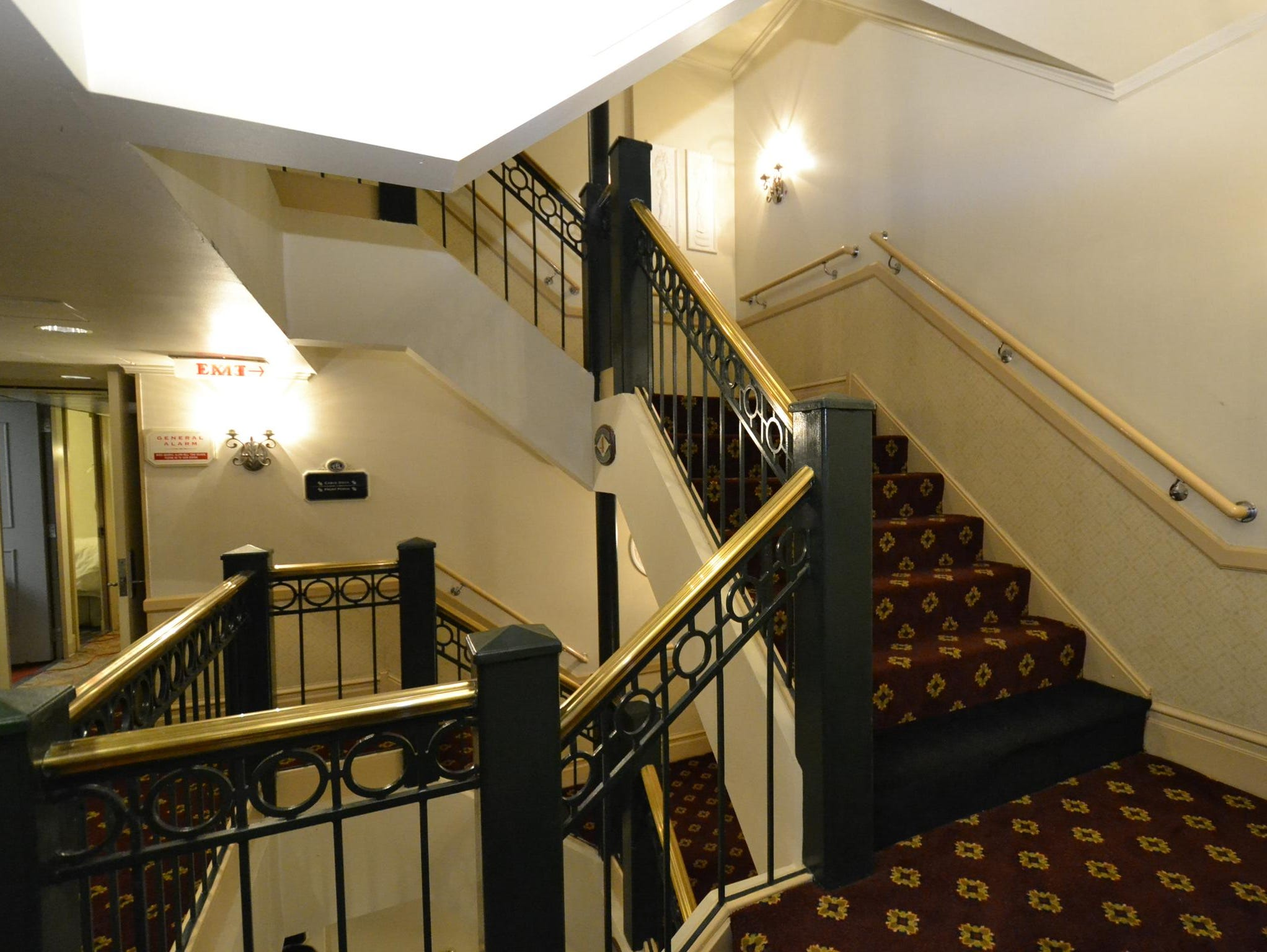 In addition to elevators, a Victorian-style stairway connects the American Queen's passenger decks.