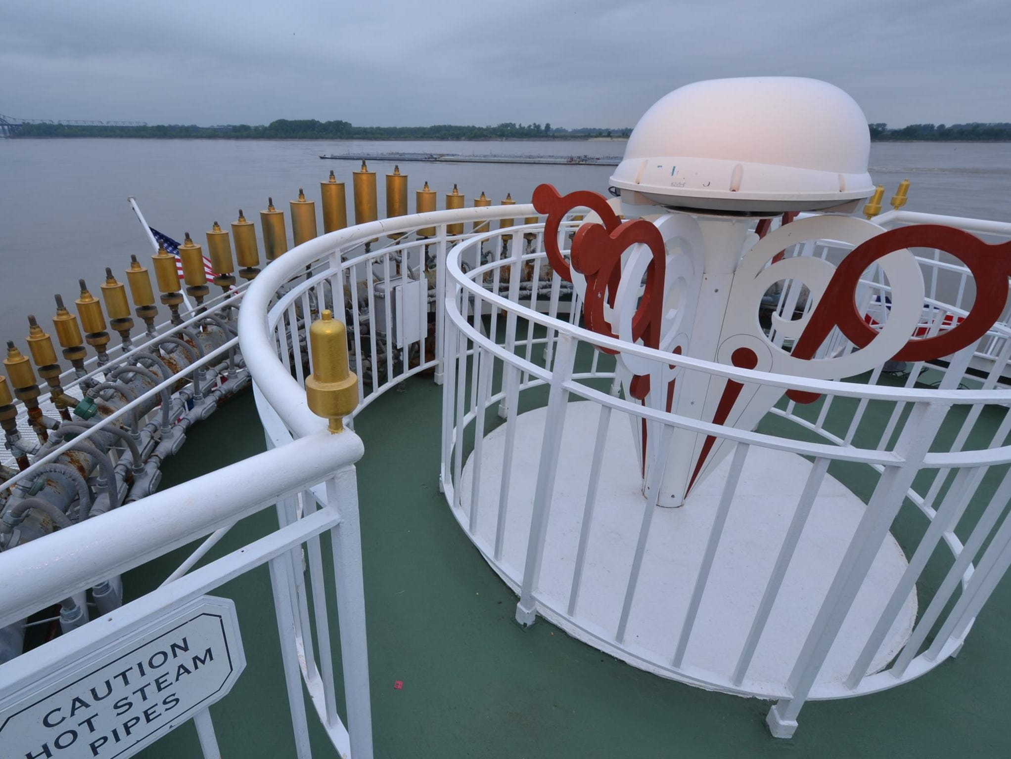 A traditional steam-powered calliope located on the back of the American Queen is often played by crew members on board, offering a historical touch as the vessel is underway.