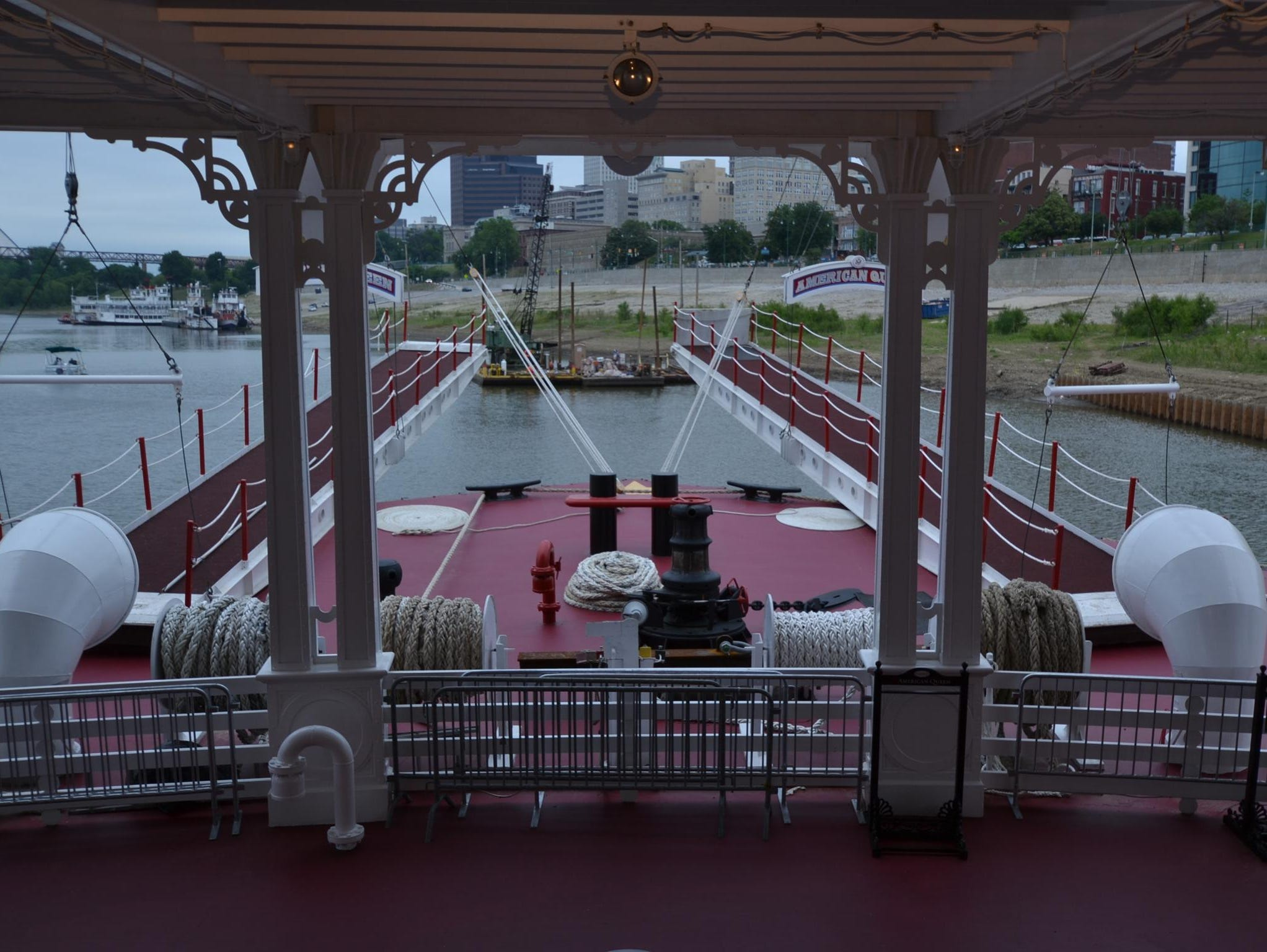 Like steamboats of old, the front of the American Queen features walkways that are designed for use during stops where a dock is not available.