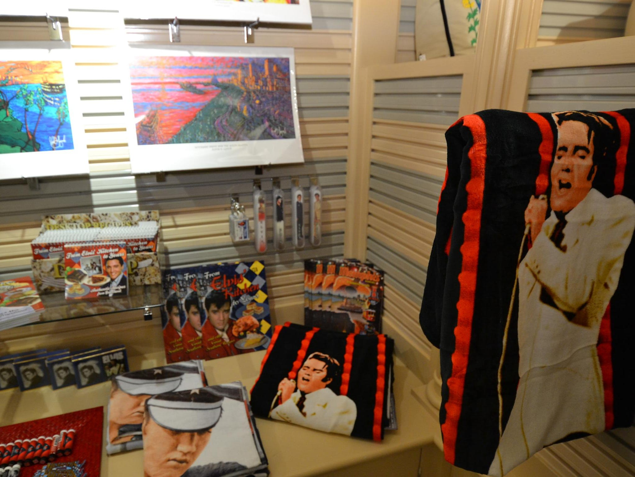 Elvis Presley items for sale at the A.Q. Emporium. The American Queen Steamboat Company has partnered with Presley Enterprises to host an Elvis cruise.