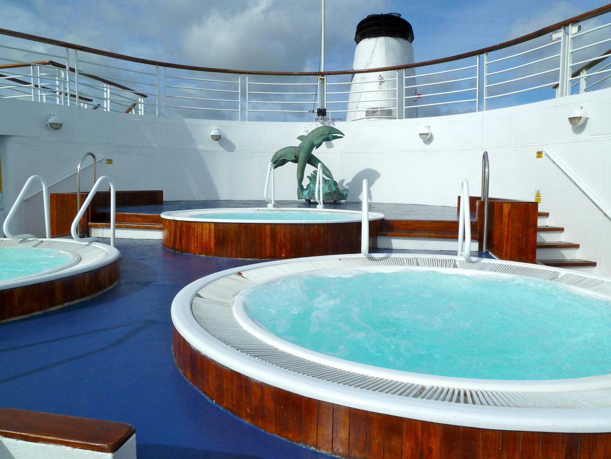 Here is another view of the Jacuzzis, which are sheltered by the deck above.