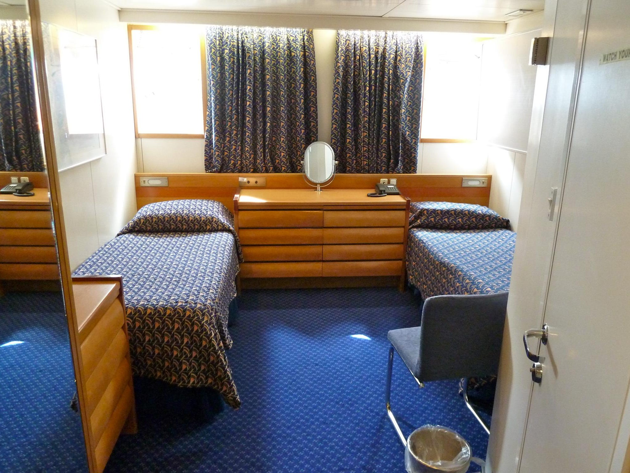 Category 8 Standard Plus Twin Cabins measure on average 141-square-feet and have one or two picture windows or portholes. Some are equipped with a third berth.