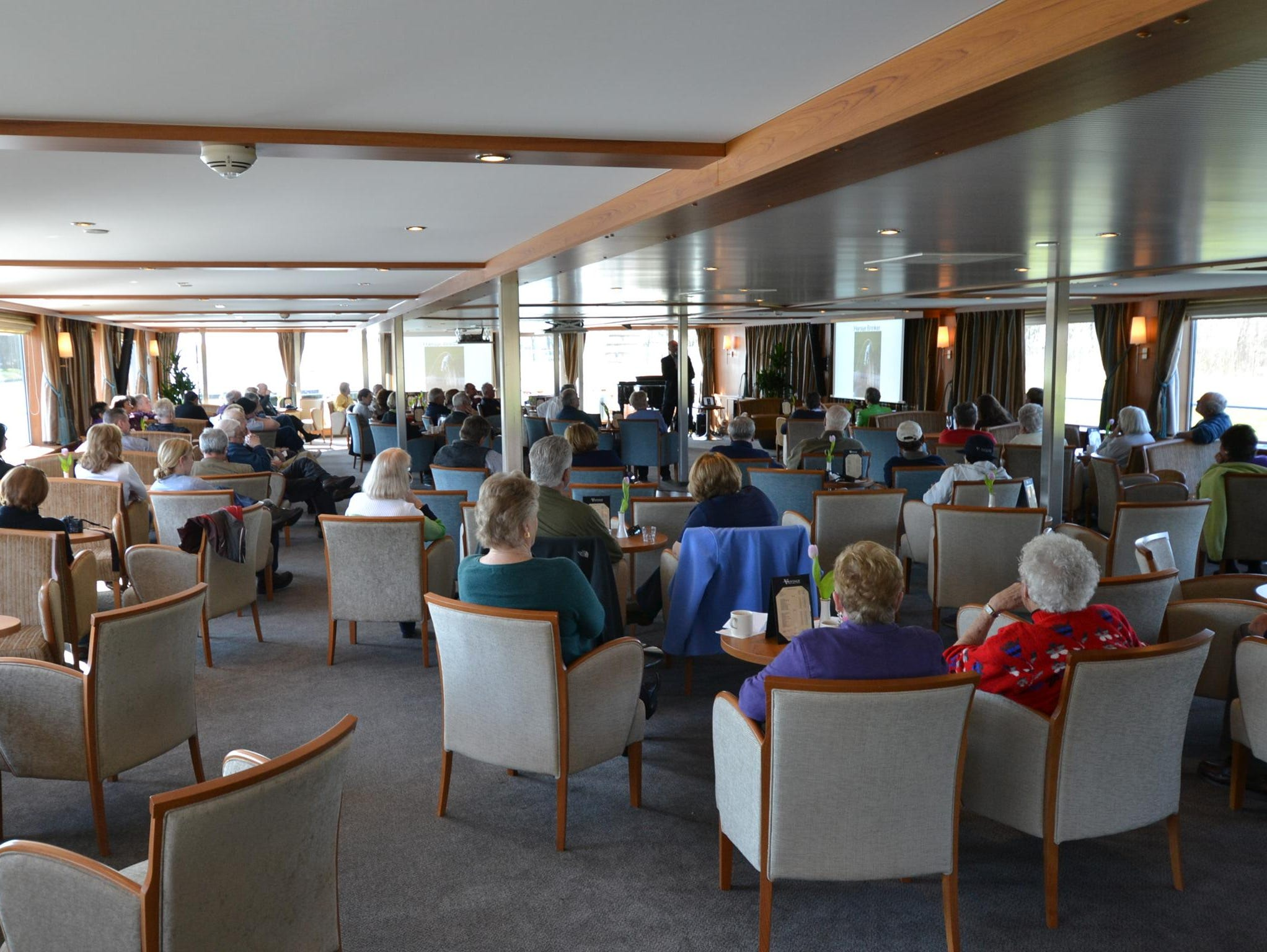 Like other river ships in Europe, the River Discovery II features a large lounge at its front that serves as a central gathering place for passengers.