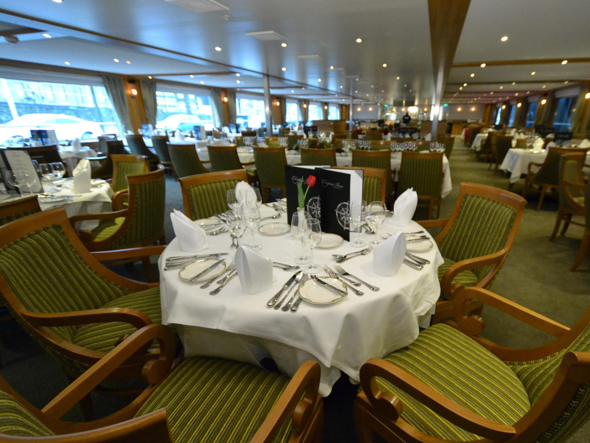 The River Discovery II's main dining room is located on the vessel's mid-level passenger deck, called the Explorer Deck.