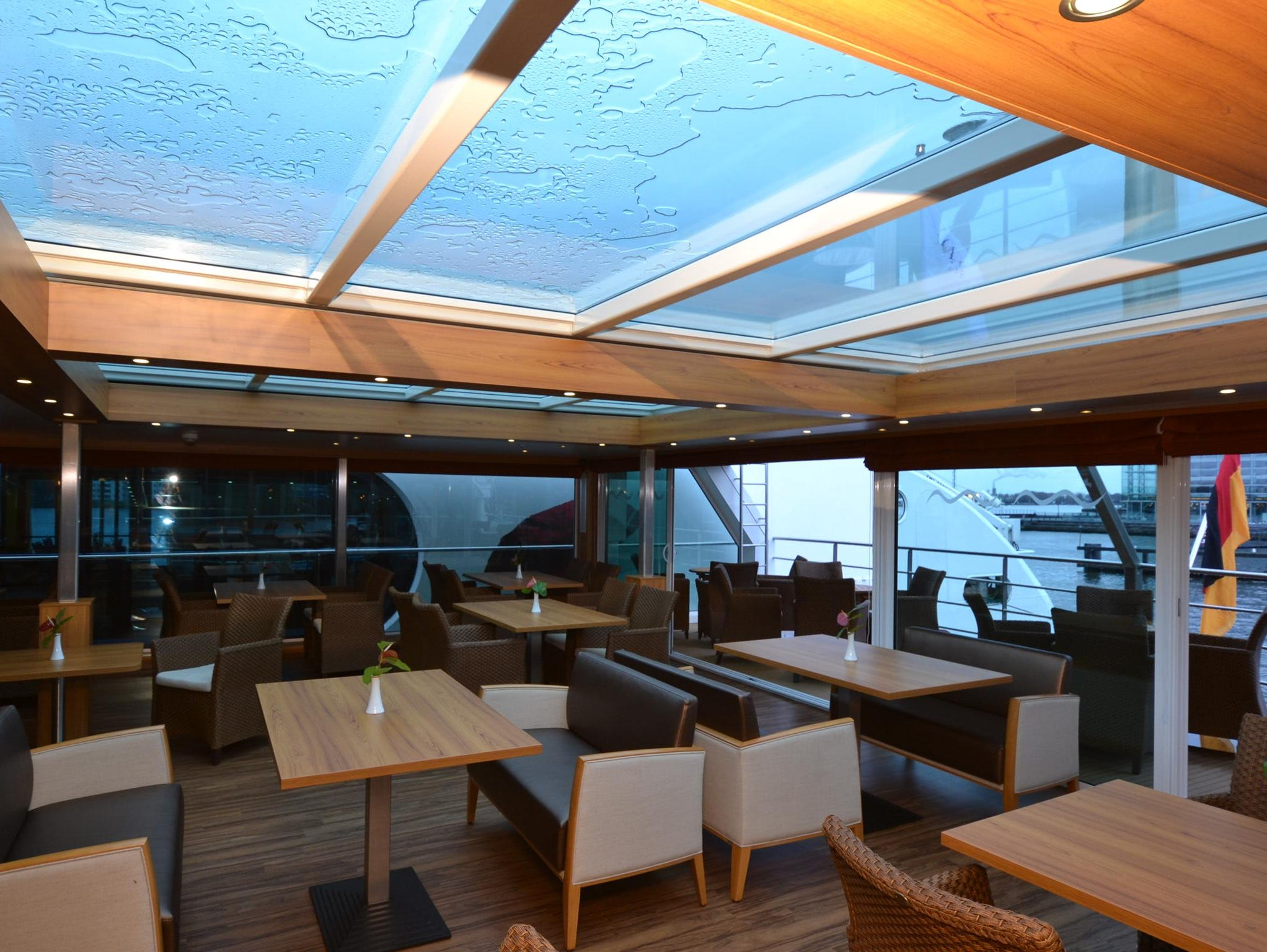 In an innovation for river ships, the River Discovery II's Captain's Club has a retractable glass roof that can be opened as the ship is sailing.