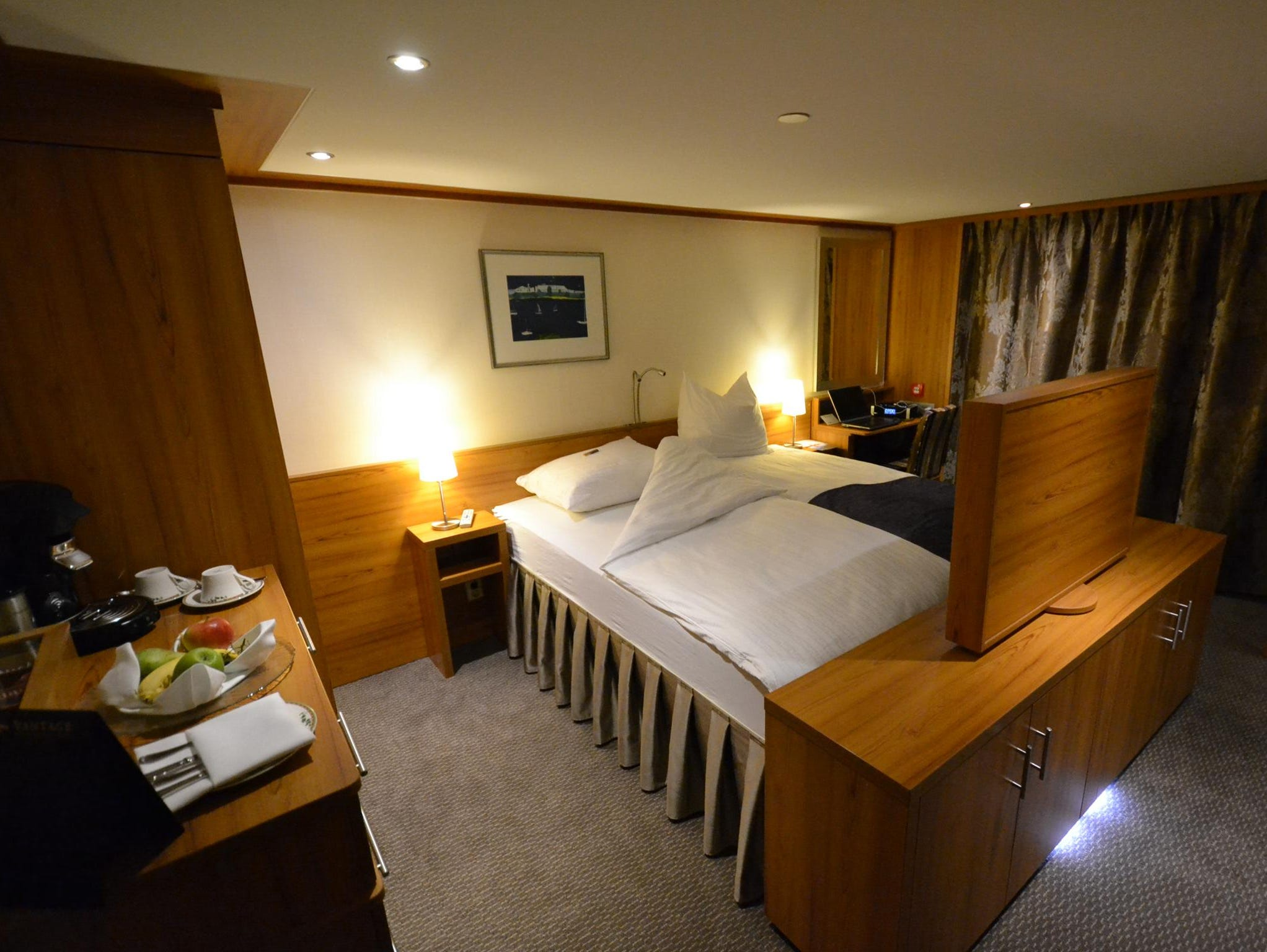 Among the top accommodations on the ship are 12 Deluxe Suites that measure 250 square feet and offer French balconies and a sitting area with a table.