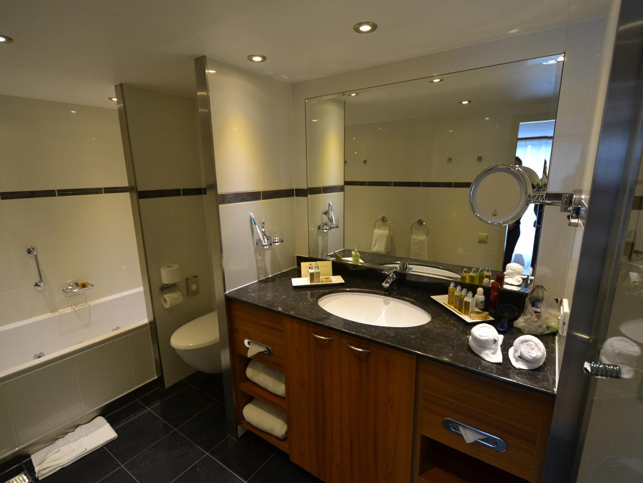The Owner's Suite's bathroom also is larger than the bathrooms in other cabins.