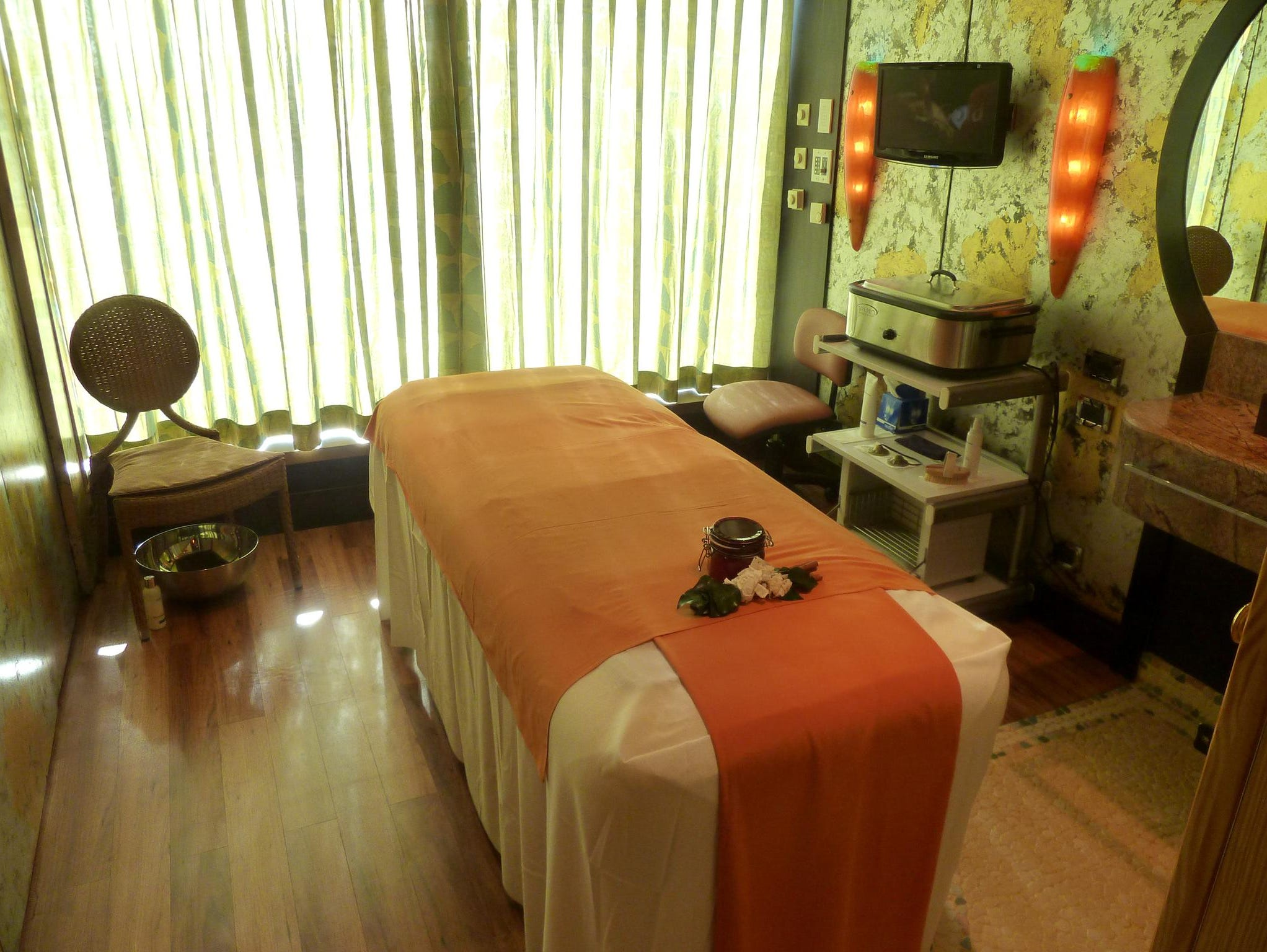 Numerous treatment rooms are located on the port side of the Orchidea Deck-level of the Samsara Spa.
