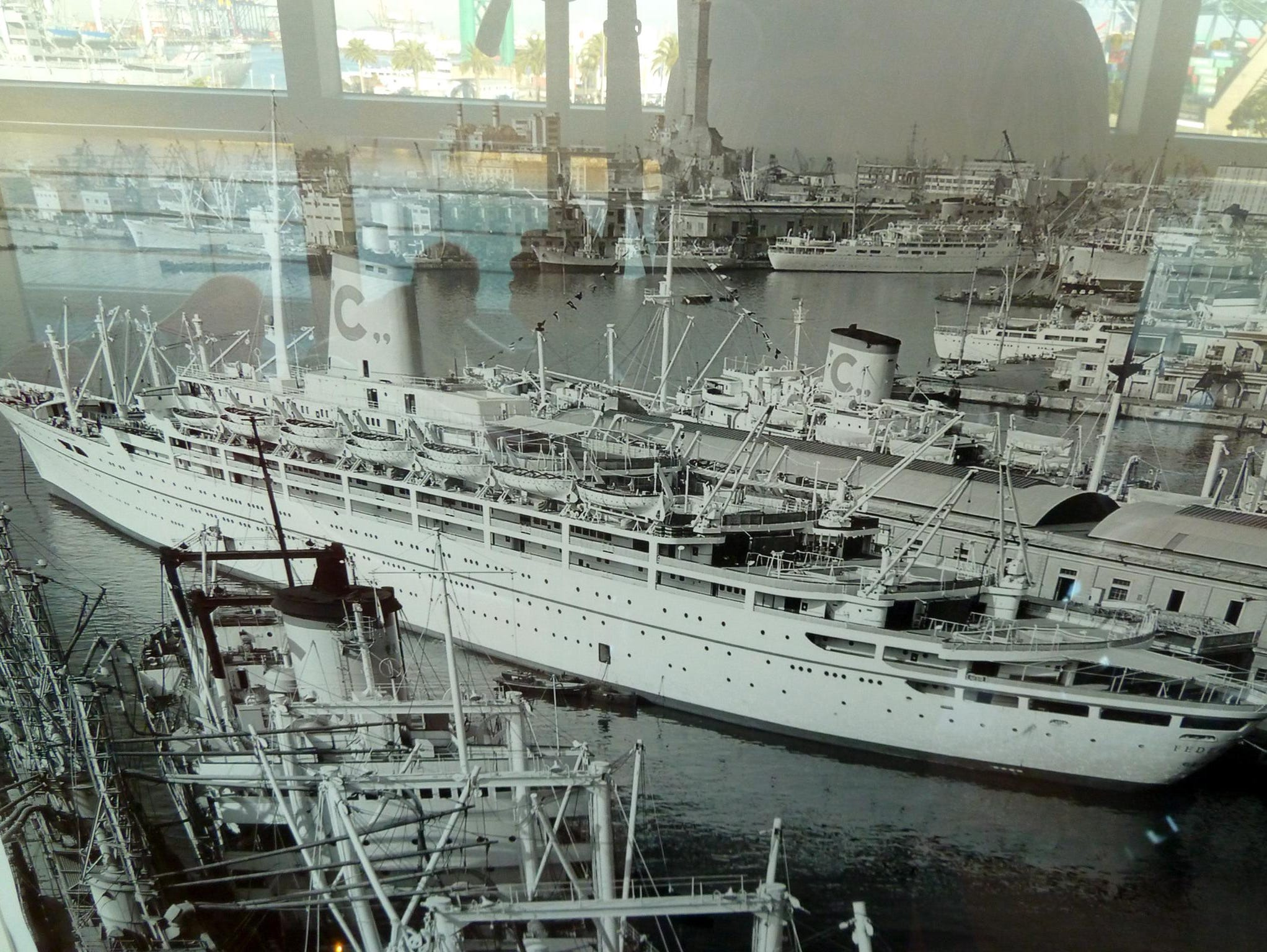 Historic black and white photos of late but great Costa liners such as the Bianca C, C. Columbus, Federico C and Eugenio C are on display in several parts of the ship.