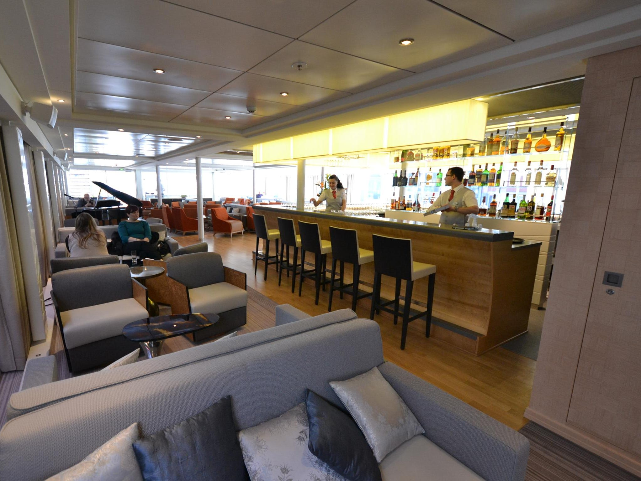 As is typical on river ships in Europe, the Viking Odin has a single large lounge at the front of its highest passenger deck that serves as a central gathering place for passengers.