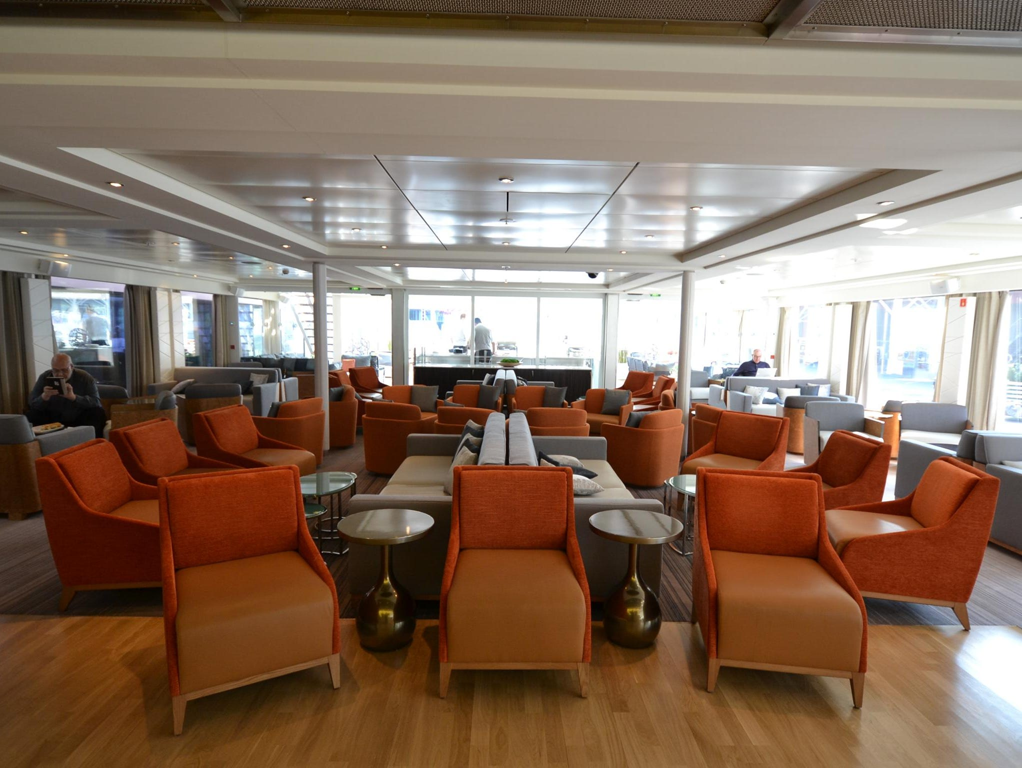 The Observation Lounge, as it's called, is the site of daily port-orientation talks and lectures, as well as evening cocktails and musical entertainment.