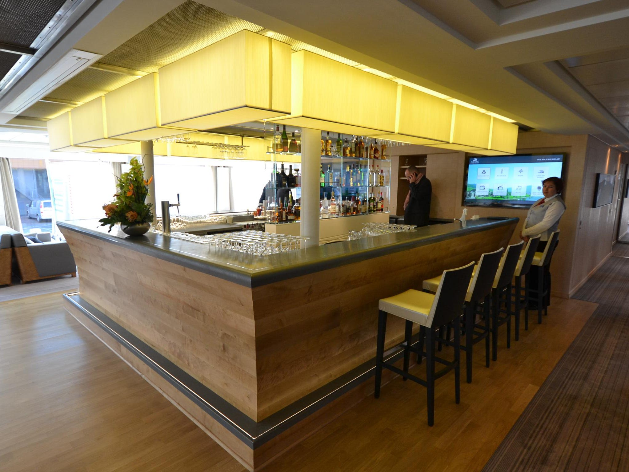 The bar in the Viking Odin's Observation Lounge, like the rest of the ship, has a contemporary design.