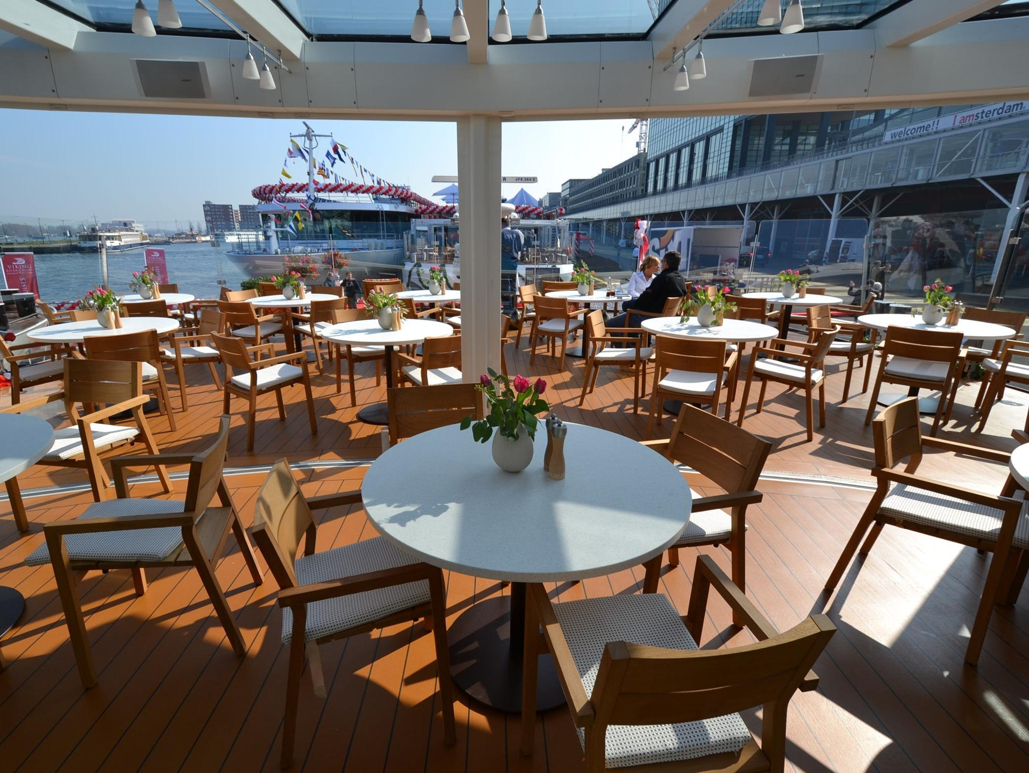 Called Aquavit, the Viking Odin's terrace area has seating for several dozen passengers with views over the ship's bow.